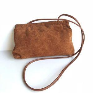 Vintage British Tan Suede Hinge Convertible Clutch